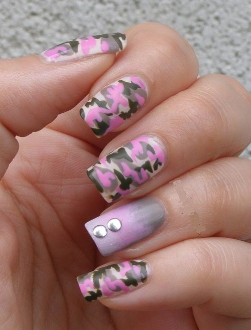 pink camo nail with ombre accent nail and studs - Best 25+ Camo Nail Designs Ideas On Pinterest Camo Nails, Camo