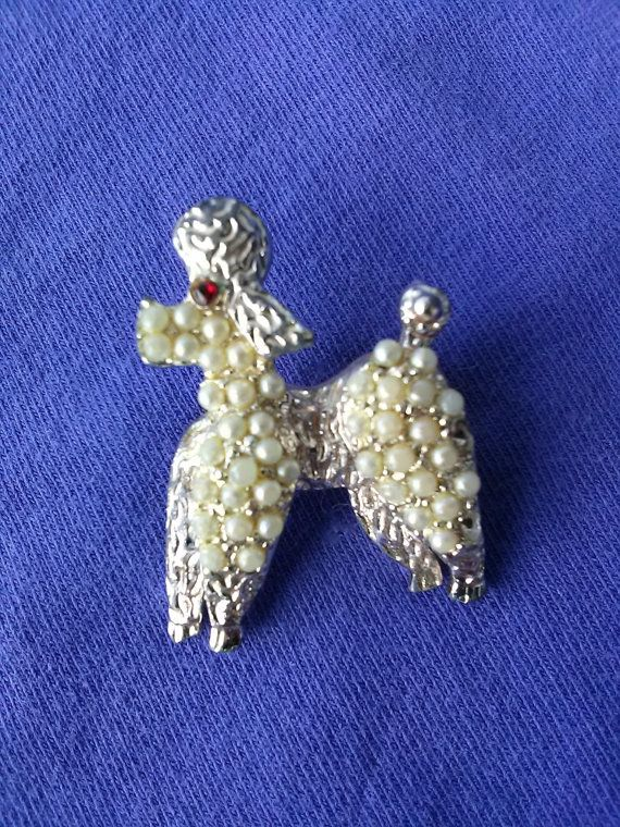 Vintage 1960s Poodle Pin Pearls Standard Poodle by bycinbyhand