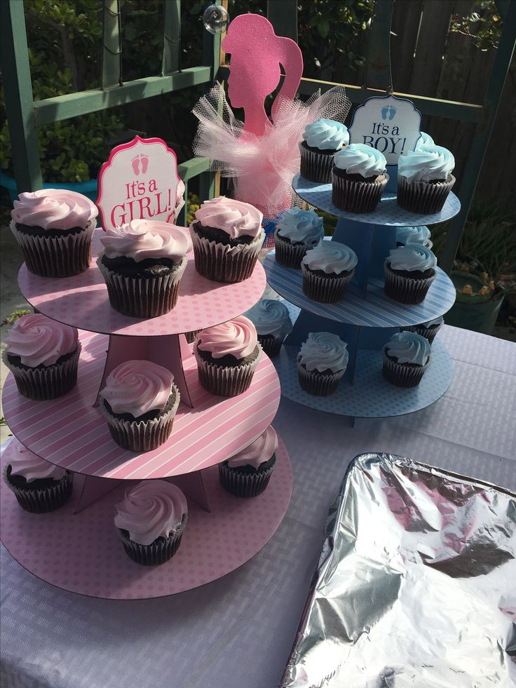 Blue and pink cupcakes cupcakes stands are from hobby
