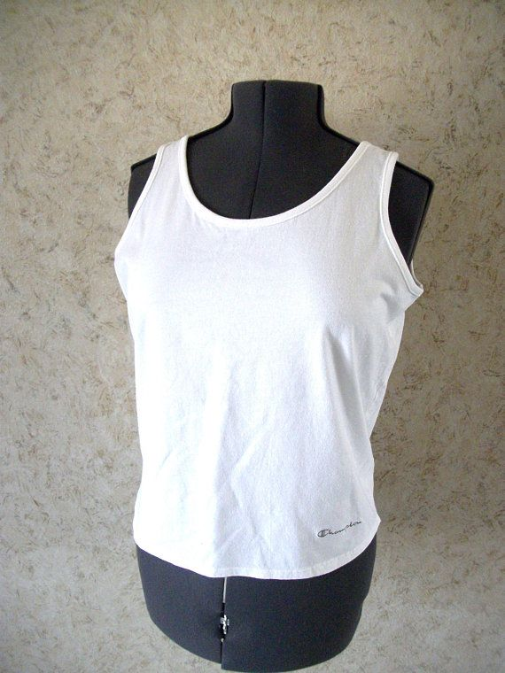 248d1711 Vintage Champion White Tank Top Soft Cotton Tee Embroidered Name 90s Retro  Boho T Shirt Classic Tank Womens Large