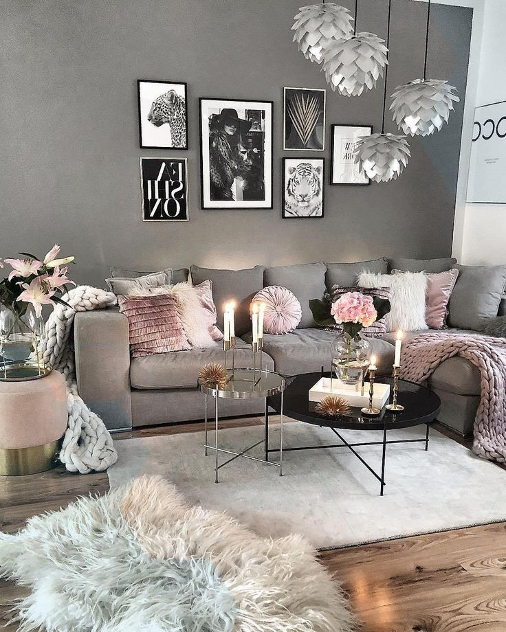 Recreate This Grey And Pink Cozy Living Room Decor Livingroom Decor Pink Living Room Blush And Grey Living Room Living Room Decor Cozy