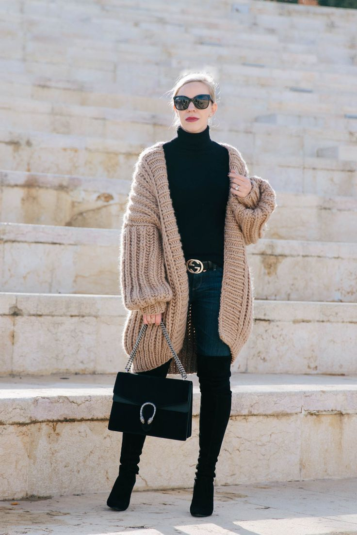 The Coziest Cardigan You'll Ever Own: I Love Mr. Mittens oversized fisherman's cardigan with Gucci belt and black over the knee boots, how to wear an oversized cardigan