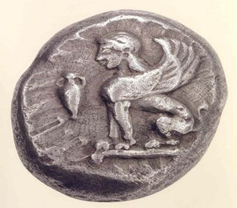 Chios Coin - Silver stater 478-431 BC. O. Sphinx seated with an amphora in the field.