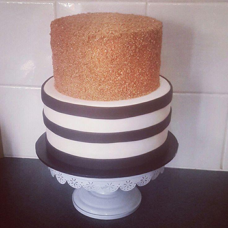 Beautiful Rose Gold, Black & white striped 21st cake