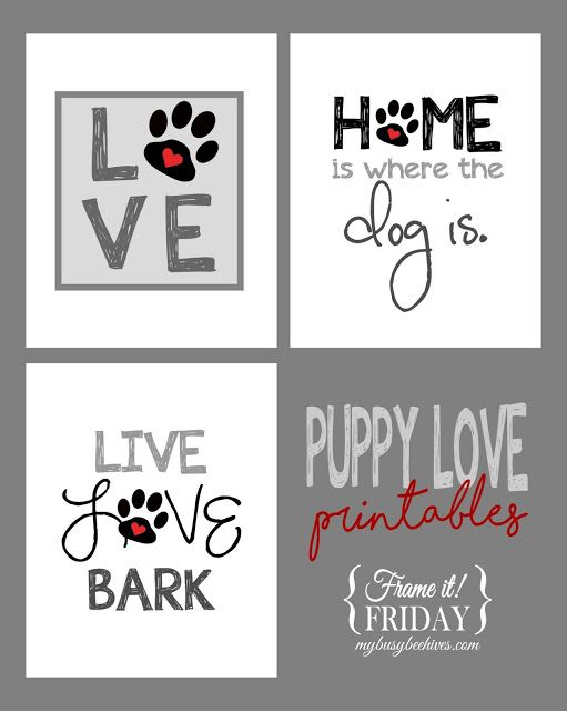 Puppy Love... a trio of free printables to celebrate your dog.