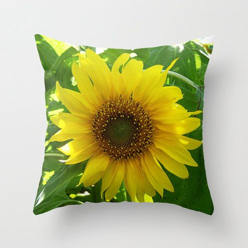 Yellow Cushion Covers Sunflower Photo Flower Pillow Cover Country Home Decor Toss Pillow Covers 18x18 20x20 Square Pillow Covers Freesia