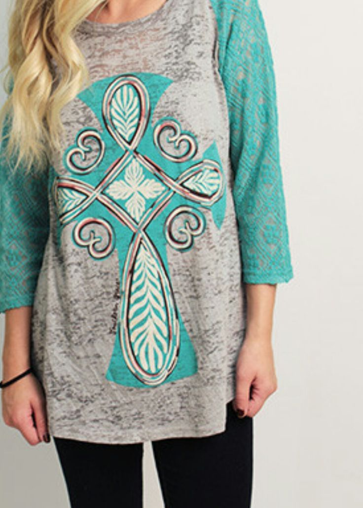 Limited Time Cross Turquoise Top - Also in Plus Size