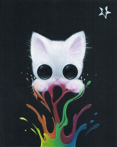 Lowbrow Sugar Fueled Cat Kitten Rainbow Paint Animal Pop Surrealism creepy cute big eye art print