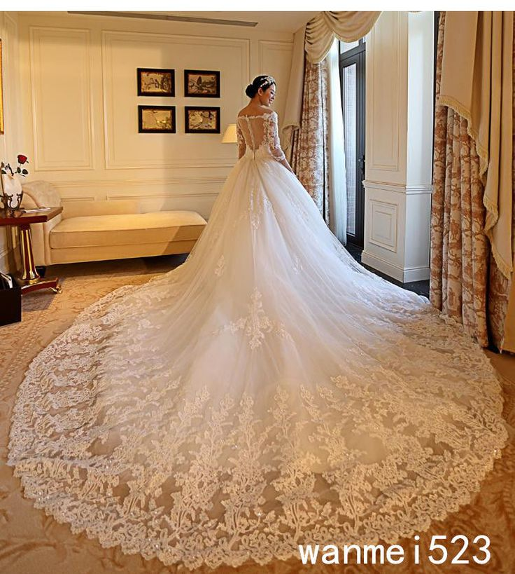 Superb Shiny Long Sleeve A Line Wedding Dress White Ivory Bridal Gowns Cathedral Train