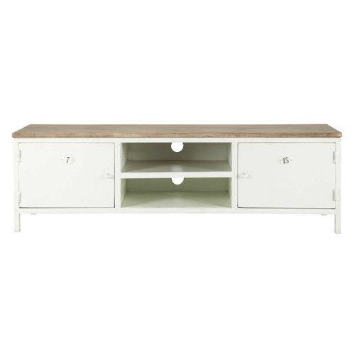 Wit metalen en mango-houten Tv-meubel L 153 cm | Home