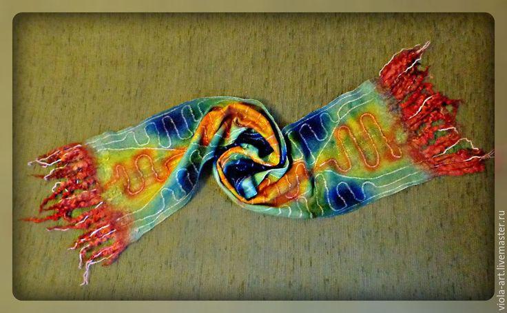 Купить Шарф валяный Десперадо - мексика, мексиканский узор, мексиканский стиль, шарф валяный
