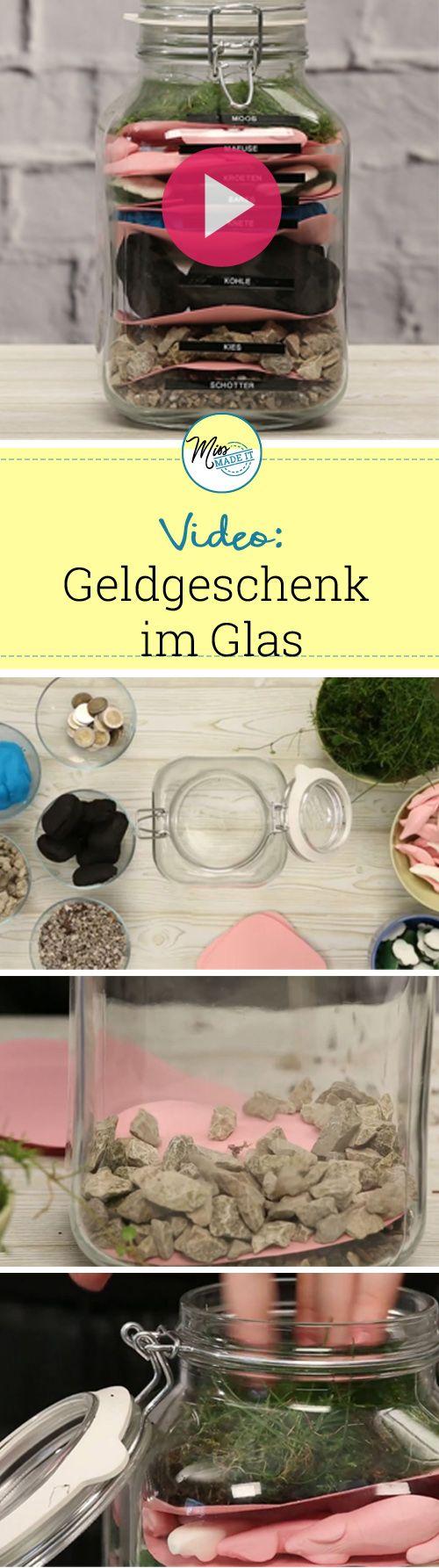 Geldgeschenke originell verpacken: Diese coole Idee im Glas ist wirklich genial! Geldgeschenke basteln, DIY Geldgeschenk, Geschenke verpacken