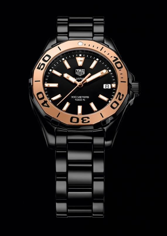 The @tagheuer Aquaracer Lady watch boasts 300-meter water-resistance, a rotating divers' bezel, screwed crown and screwed caseback with a divers' helmet engraving, luminous markers, and nonreflective sapphire crystals. Shown above is the black model with 5N rose-gold bezel on a black ceramic bracelet. More @ http://www.watchtime.com/wristwatch-industry-news/watches/5-new-tag-heuer-aquaracers-bigger-cases-all-ceramics-for-ladies/ #watchtime #chronograph #divewatch