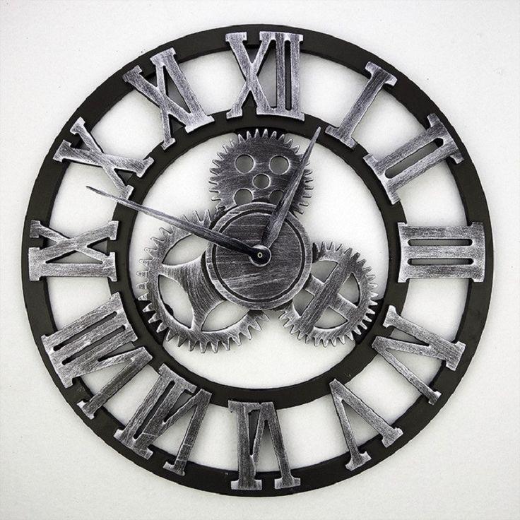 2016 Handmade 3D Gear Wall Clock Retro Gear Large Vintage Wall Clock Wooden  Watch SSaat Klok