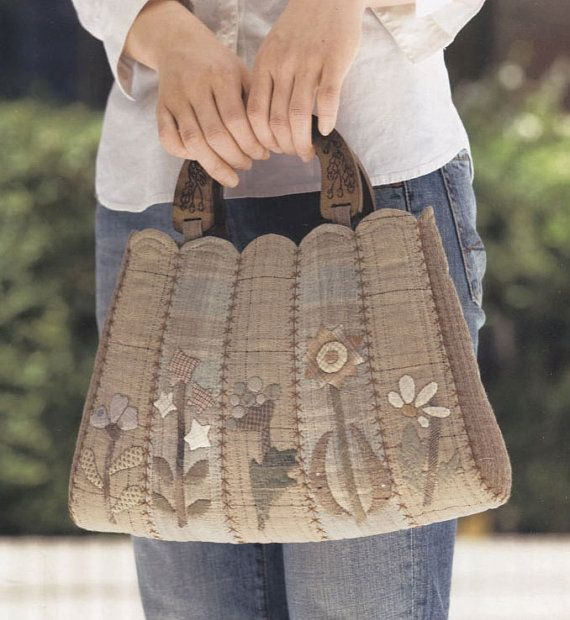 Applique de la flor de Tutorial PDF patrón tejido costura de monedero de bolso bolso hecho a mano