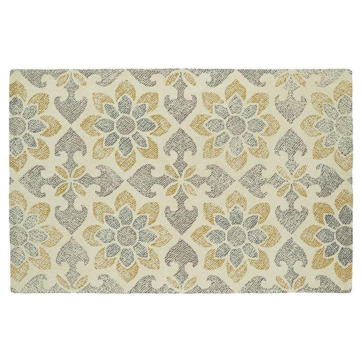 Kaleen Montage Daffodil Floral Wool Rug, Beig/Green (Beig/Khaki)