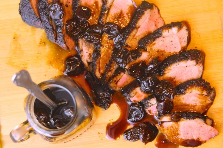 Coffee and Cocoa Crusted Smoked Duck Breast with Balsamic-Cherry Glaze–use for rub recipe