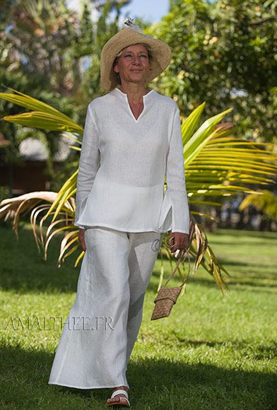 """Light linen outfit (slightly transparent) perfect for Summer evening party or seaside ceremony<br /> Our thin white """"Fuji"""" blouse (slit on the sides, long sleeves with open cuff, invisible zip on the side of the bust) is paired with the white thin linen wide legs BABA Trousers (elastic waistband and side zip)"""