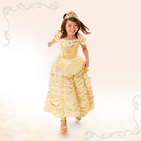 Disney Belle Deluxe Costume for Kids | Disney StoreBelle Deluxe Costume for Kids - Your princess will revel in a tale as old as time with our shimmering deluxe costume inspired by Belle's famous ballgown in <i>Beauty and the Beast</i>. Full satin skirt and floral appliqu�s add extra enchantment.