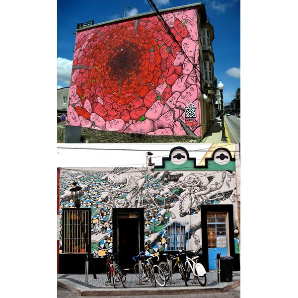 """Liqen es otro gran artista urbano nacido en España. Su seudónimo está basado en la palabra """"liquen"""", un organismo que surge de la simbiosis entre hongos y algas unicelulares, y refleja su principal interés: la biología, en especial criaturas que parecen demasiado pequeñas como para ser importantes pero que han sobrevivido durante miles de años. Algunos de sus trabajos pueden ser disfrutados en las paredes de Guadalajara, México, donde realizó una dura crítica a la gran contaminación…"""