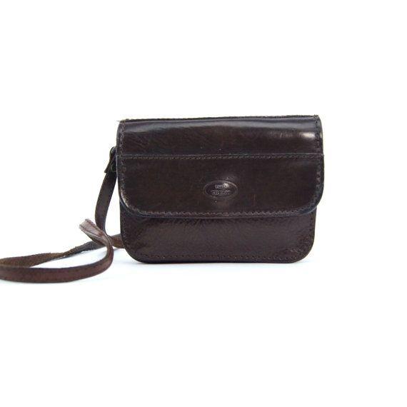 Vintage Dark Brown Leather Messenger Bag by ROCAILoldandloved