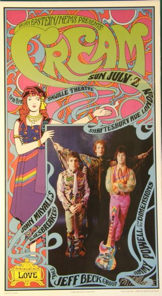 ☮ American Hippie Classic Rock Music Cream poster
