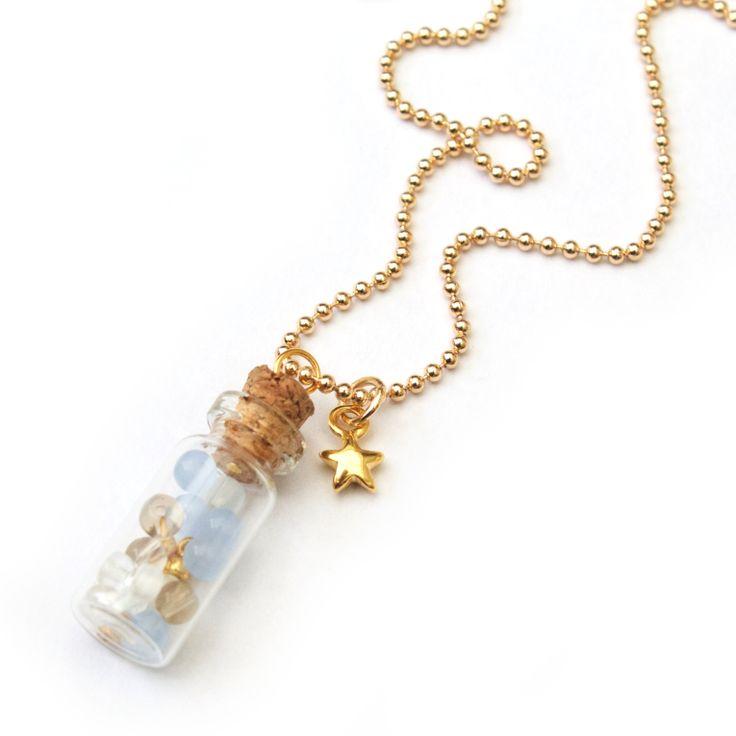 Lange ketting Bottle | Blauw - Long necklace Bottle | Blue