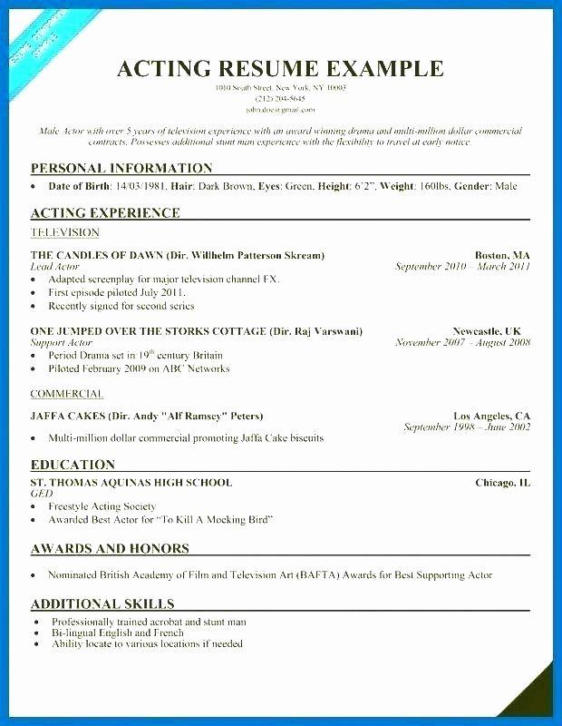 Fresh Child Actor Resume Child Actor Resume Example Beginners Resume Examples Resume Resume Template