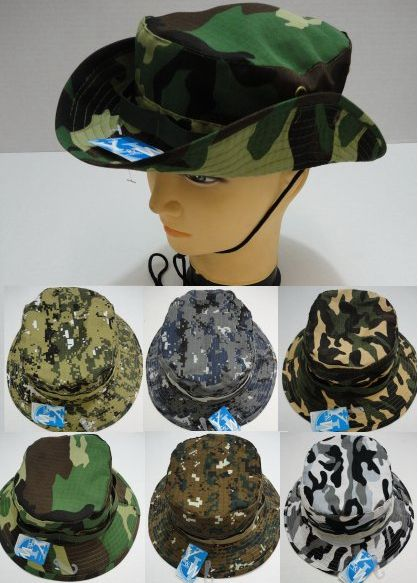 Camo Boonie Hat.Floppy snap-up sides. Includes chin strapPattern camouflageSize one size fit mostMaterial polyester