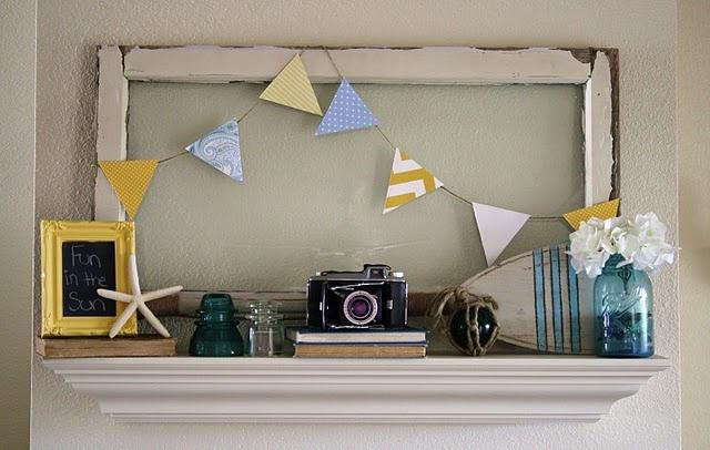 cute summertime display: Old Camera, Fireplaces Mantels, Decor Ideas, Summer Mantels, Frames, Mantels Ideas, Old Window, Beaches Decor, Summer Mantles
