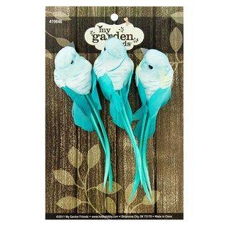turquoise feather birds floral ribbonhobby suppliesfloral decorationsfloral weddingwedding decorhobby lobbybugslobbiesfeather