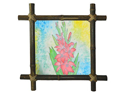 Silk Flower Painting Lily painting Batik Floral Bamboo Frame Botanical art Artwork Wall hanging painting Framed Painted fabric Bedroom decor Cottage decor Rustic decor Rustic decoration Christmas gift