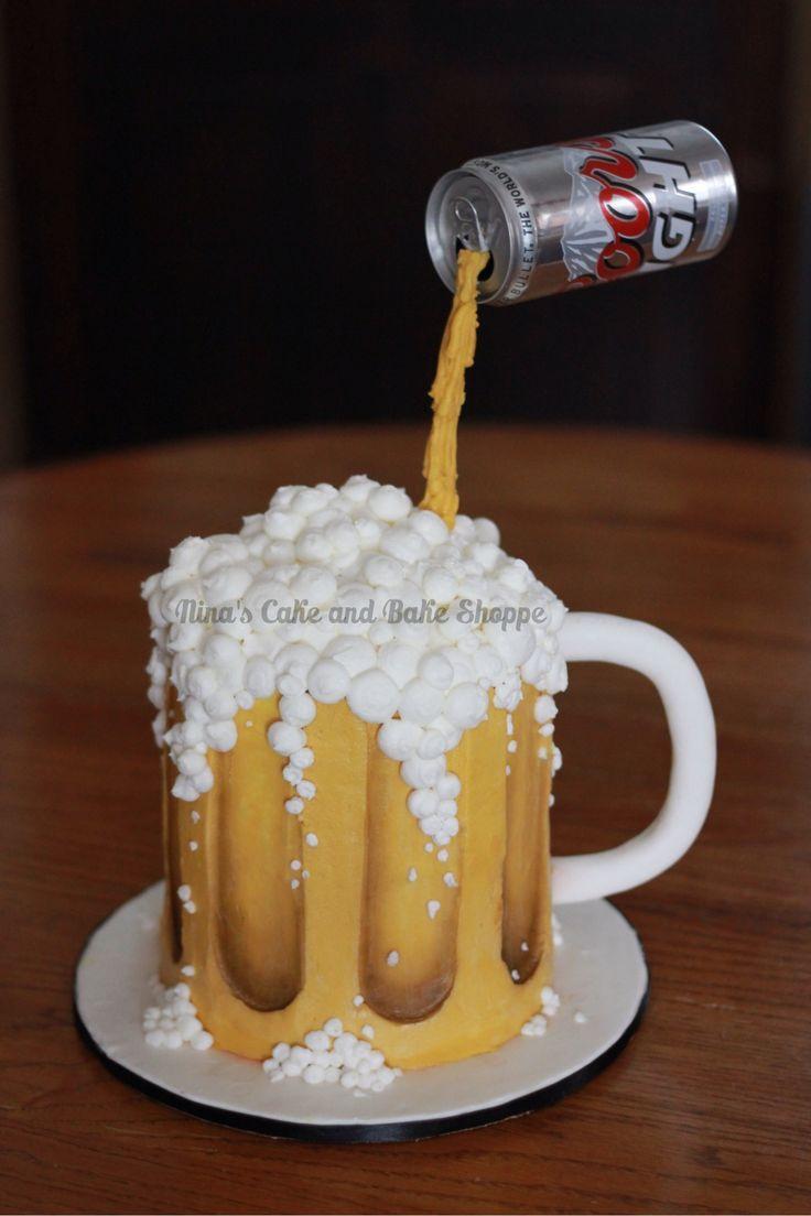 Coors Light, Beer mug gravity cake. Birthday cake