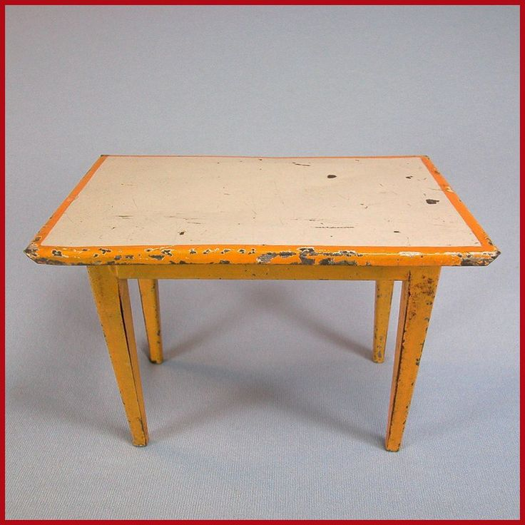 Antique Bing Dollhouse Kitchen Table Painted Sheet Metal Early 1900s from curleycreekantiques on Ruby Lane