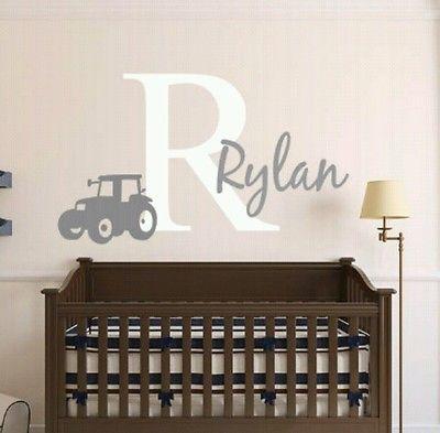 "Personalized, Tractor, Vinyl, Wall, Decal, Farming, Nursery, John Deere, 18"""