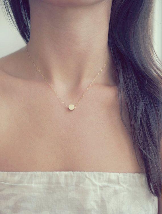 14k Tiny Gold Dot Necklace