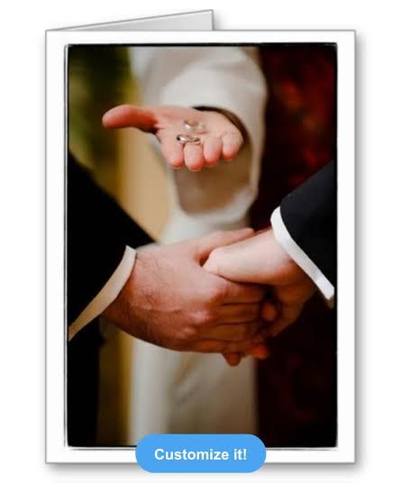 Gay Marriage Congratulations. Gay Marriage Greeting Card. Customizable: add names, dates, or a congratulatory message.   www.TheButchQueen.com  http://www.zazzle.com/grooms_gay_wedding_commitment_ceremony_love_cards-137771008254813825