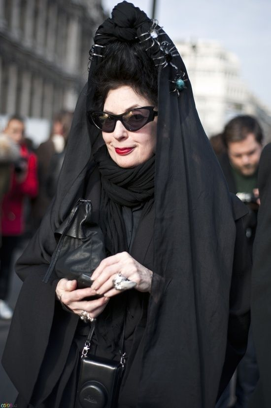 Diane Pernet Loves Vernissage jewellery and IMPERIAL MOTH Silver Grey Ring. Shop it at WWW.FINAEST.COM | #finaest #dianepernet #fashion #vernissajewellery #jewellery #mode #paris #fashionweek #pfw