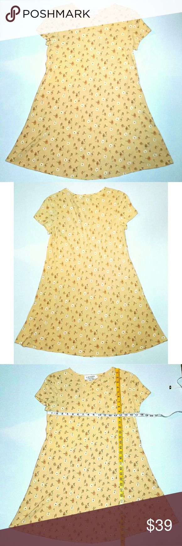 Vintage Laundry Shelli Segal 90s Floral 👗 Great condition! Small all over floral design on a buttery yellow/cream background. Dress is bias cut so the wider it goes, the shorter it gets. It will smooth nicely to curves. Throw some Docs on with leggings and a cute cardigan over! Laundry by Shelli Segal Dresses Mini