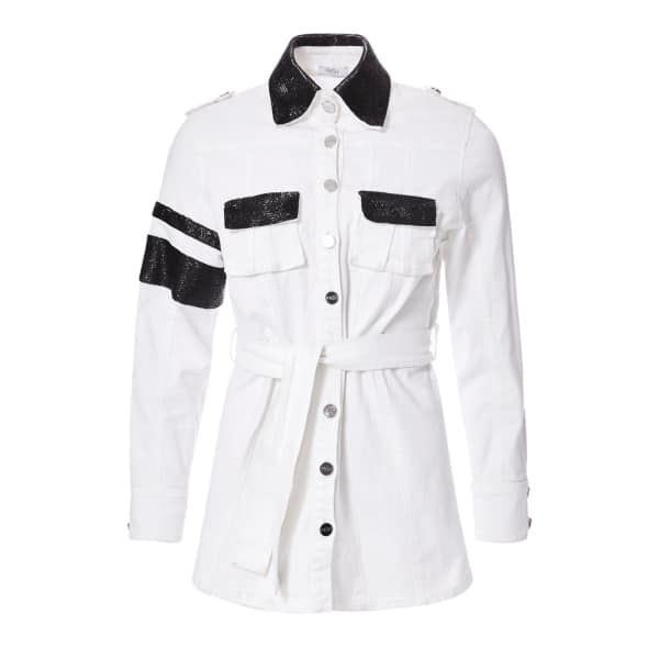 White Denim Safari Jacket with Beadings | PA5H | Wolf & Badger / Women / Clothing / Jackets & Coats