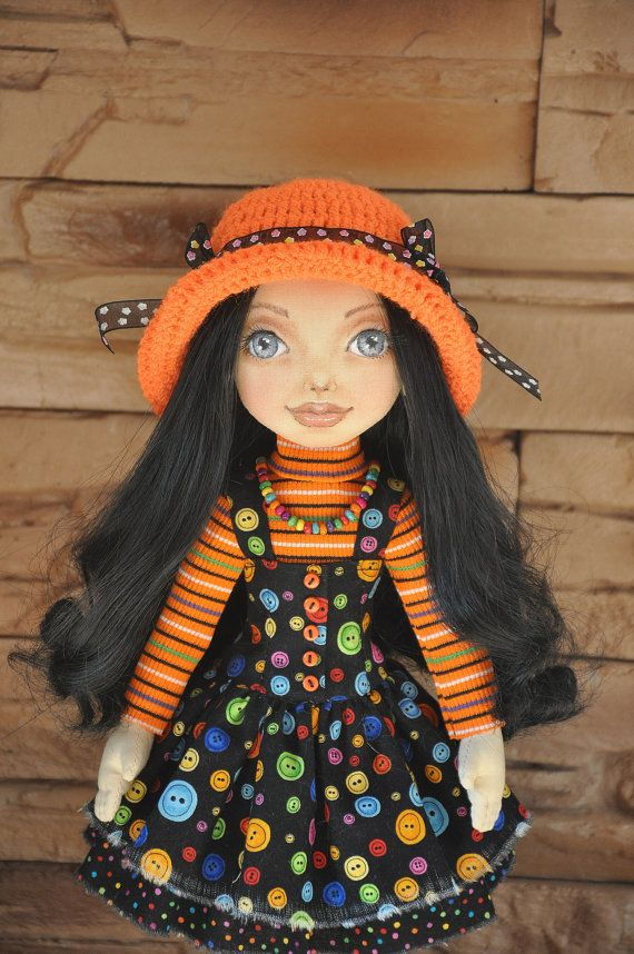 Textile doll, decorative doll, collector dolls, doll cotton, rag doll, art doll