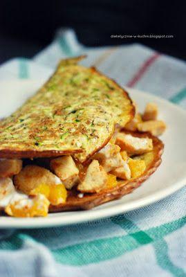 Pieczona frittata z cukinią, kurczakiem i żółtą papryką