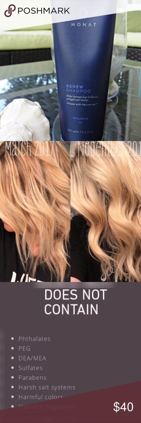 MONAT Renew Hydrating Shampoo + FREE Samples New full size. Comes with 2 free samples of product while supplies last! A truly transformative shampoo! Infused with Rejuvenique Oil to breathe life and vitality back to your hair!  Anti-aging and naturally based. Monat Makeup
