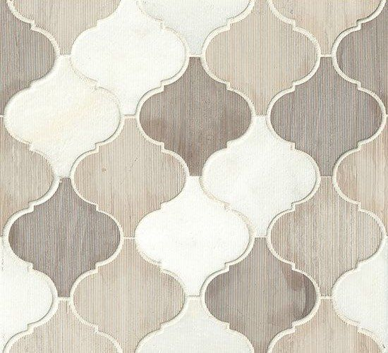 luxembourg arabesque mosaic large lantern white marble brown stone backsplash in