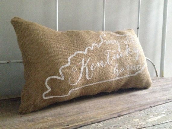 "Burlap Pillow, University of Kentucky- ""My Old Kentucky Home"", State of Kentucky Silhouette, Custom Made to Order"