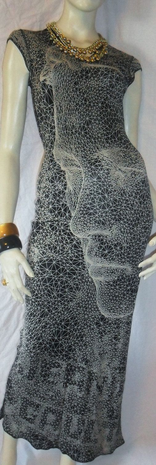 Reserved..Amazing JEAN PAUL GAULTIER Femme Face Dress Wearable art Maxi Spring Length Fitted Jersey Sz 6