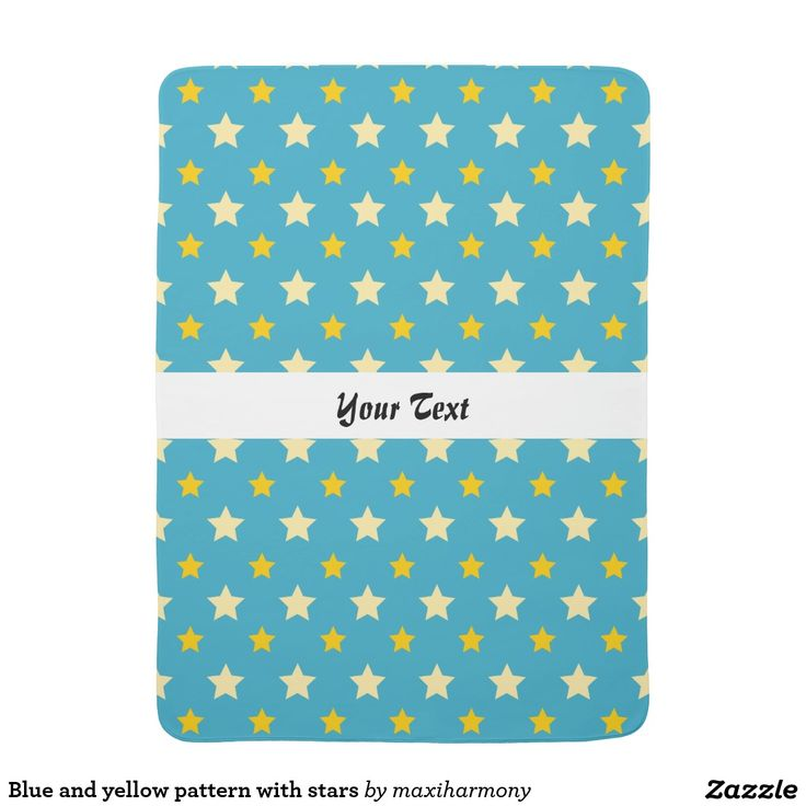 Blue and yellow pattern with stars receiving blanket