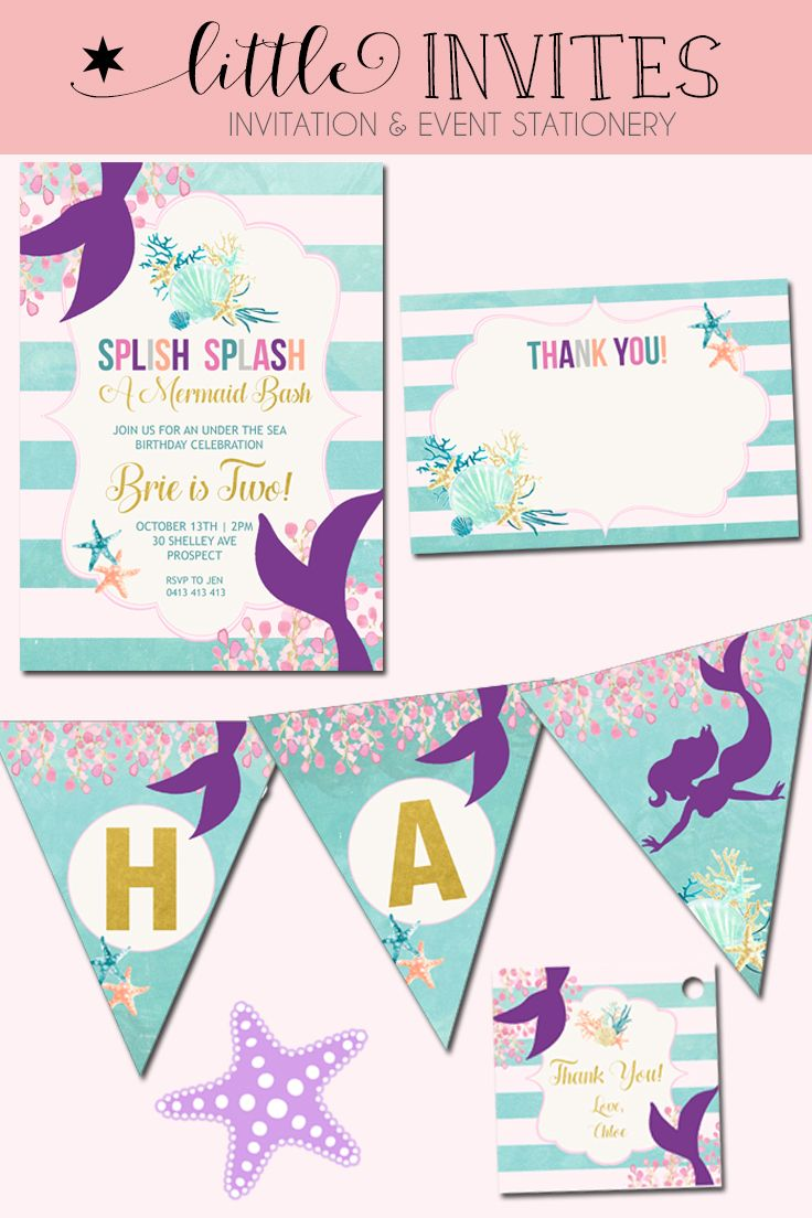Mermaid Invitation and matching thank you card, Happy Birthday Banner and favor tags. By Little Invites. Teal, purple, pink and gold.