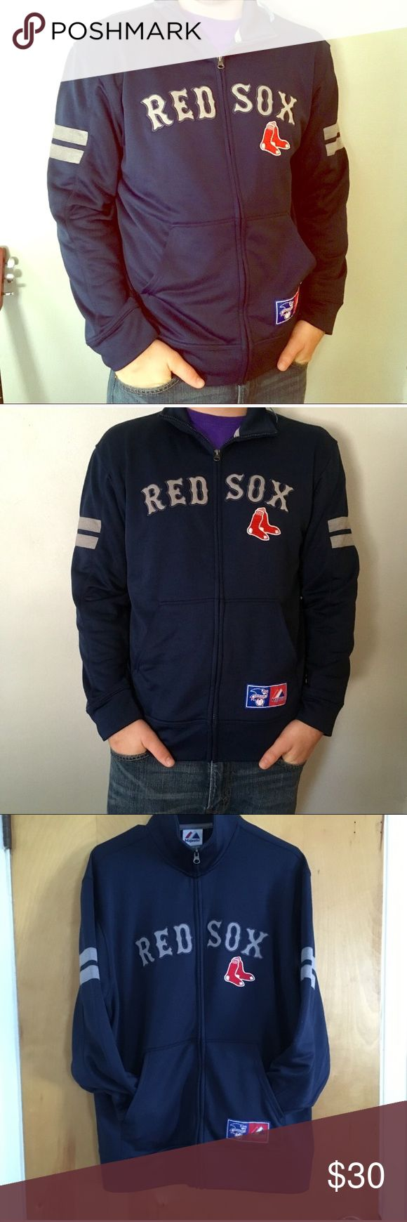 Red Sox zipup! 💕 Red Sox warm-up zip-up jacket! Perfect for outdoor wear! Warm and form fitting! Great condition ! No issues! Majestic Jackets & Coats Performance Jackets