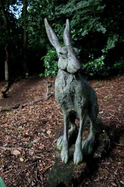 Bronze resin Garden Or Yard / Outside and Outdoor sculpture by artist Lucy Kinsella titled: 'Seated Hare (Large Outsize bronze resin garden sculptures)'